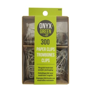 Onyx + Green Paper Clips Recycled Kraft & PET Packaging [300 Pack]