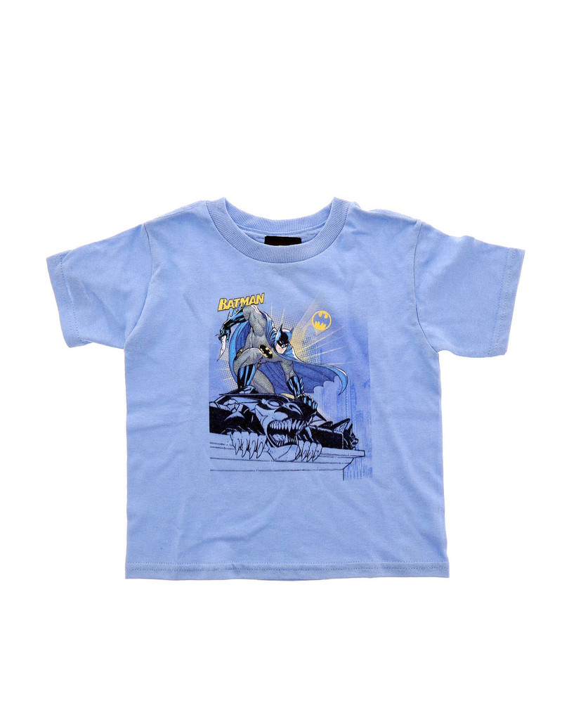 Batman Two Gotham Gargoyles Carolina Blue Toddler Tshirt 2T
