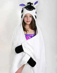 Zoocchini Ziggy The Zebra White Kids Hooded Towel