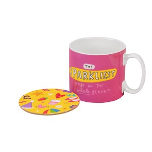 The Happy News Sparkliest Babe Mug & Coaster Set