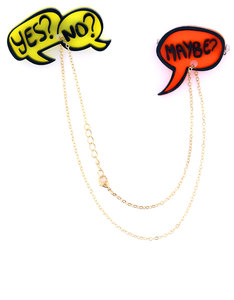 CREATIVE VILLE YES NO MAYBE FASHION PINS [SET OF 2 ON CHAIN]