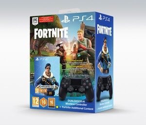 Sony Dualshock 4 Black Controller Ps4 With Fortnite Voucher
