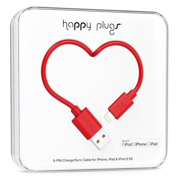 Happy Plugs Lightning To Usb Charge/Sync Red Cable 2M
