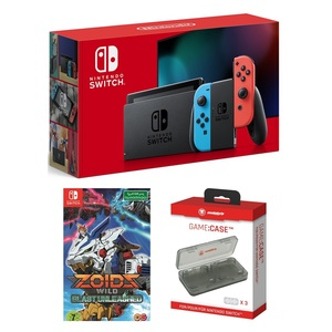 Nintendo Switch Neon Joy-Con + Zoids Wild Blast Unleashed + Snakebite Game Case [Bundle]