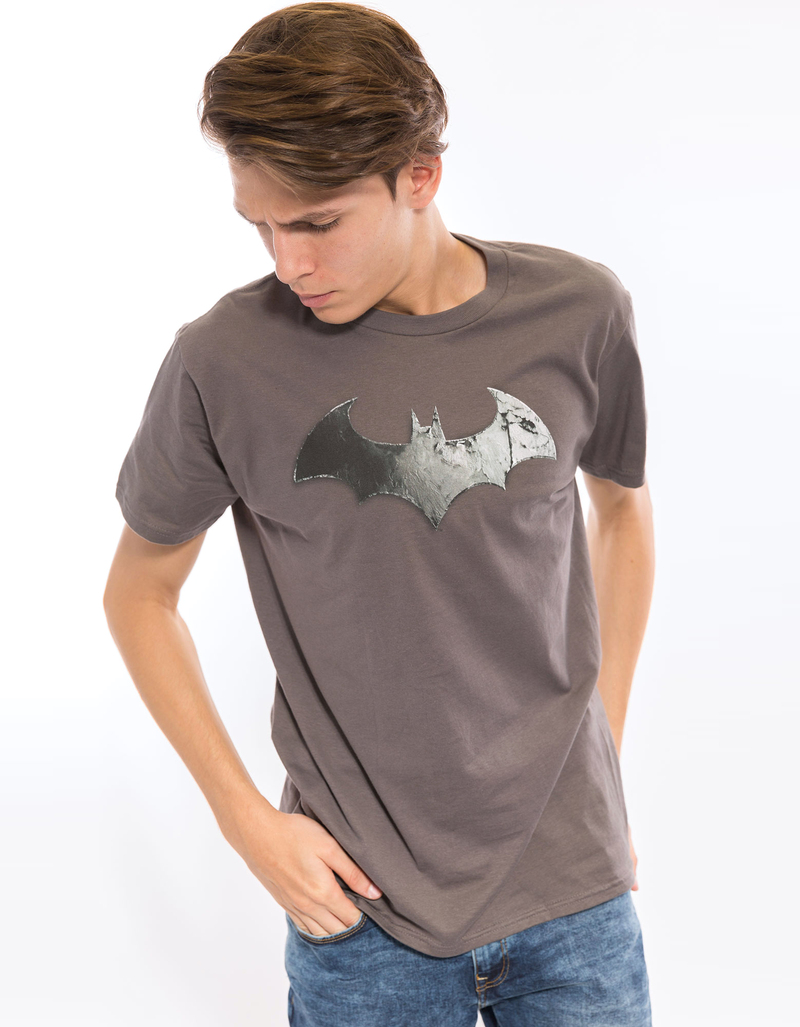 Arkham City Bat Logo Charcoal 30/1 Men'S Tshirt M