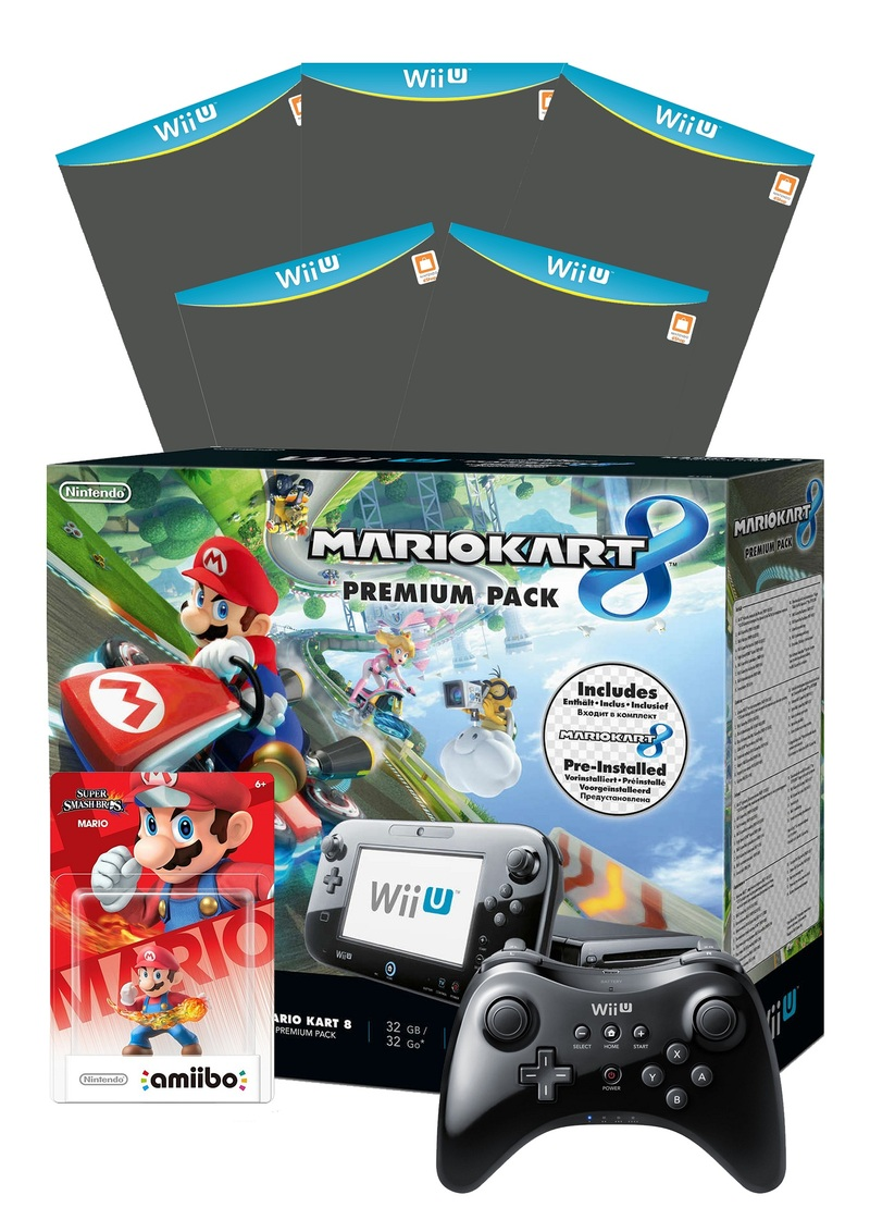nintendo wii u mario kart 8 console 5 games 1 amiibo. Black Bedroom Furniture Sets. Home Design Ideas