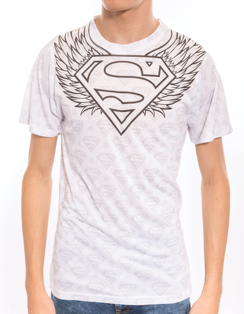Superman Winged Sheild Repeat White Poly Crew Men'S Tshirt M