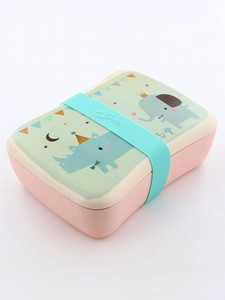 Petit Monkey Bamboo Lunchbox Rhino & Friends