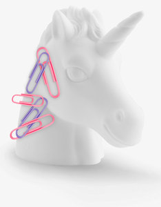 Mustard Unicorn Head Shaped Paperclip Holder