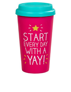 Happy Jackson Yay! Pink Travel Mug