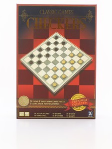 Merchant Ambassador Classic Wood Checkers Board Game