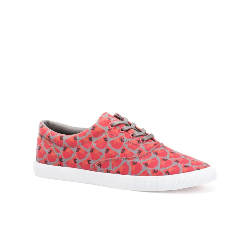 Bucketfeet Cardinals Red/Charcoal Low Top Canvas Lace  Women'S Shoes Size 6