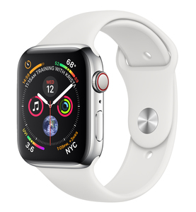 APPLE WATCH SERIES 4 GPS +CELLULAR 44MM STAINLESS STEELCASE WITH WHITE SPORT BAND