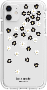Kate Spade New York Defensive Hardshell Case Scattered Flowers Black/White/Gold Gems/Clear/White Bumper for iPhone 11