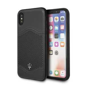 Maserati Granlusso Leather Case Dark Grey for iPhone XS