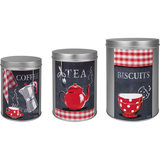 Orval Creations Set Of 3 Nesting Metal Boxes Red