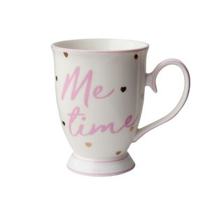 Me Time Mug with Hearts Gold/Pink