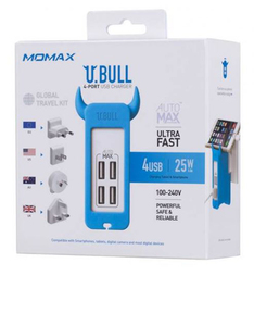 Momax Ubull Blue 4 Port 5A USB Charger