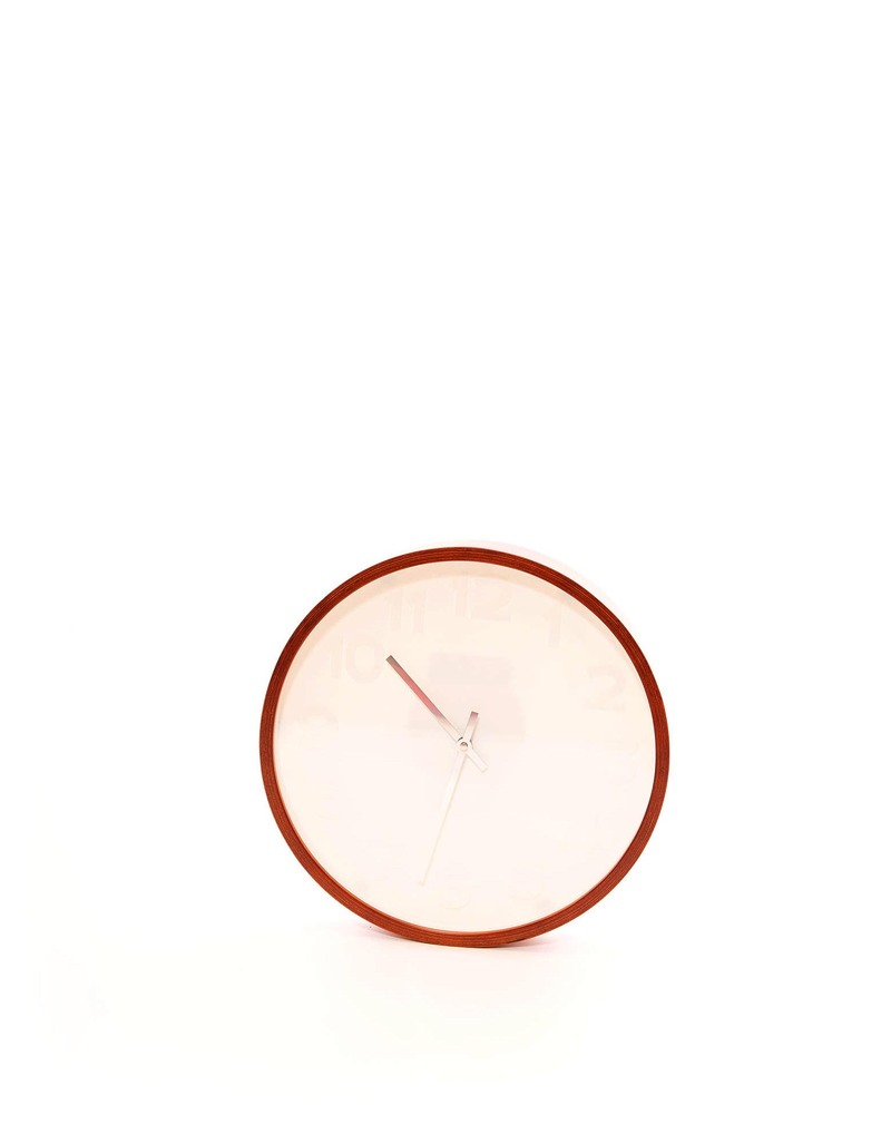 Wall Clock Mr.White Numbers Wooden Case