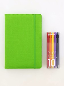 Kaco Memory Light Green A5 Notebook With Folder & Pure Soft Touch Gel Pen [10 Piece]