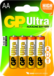 GP Batteries Ultra Alkaline AA Single-Use Battery [4 Pack]