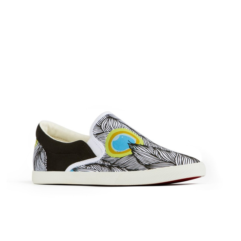 Bucketfeet Peacock Black/White Low Top Canvas Slip On  Women'S Shoes Size 6
