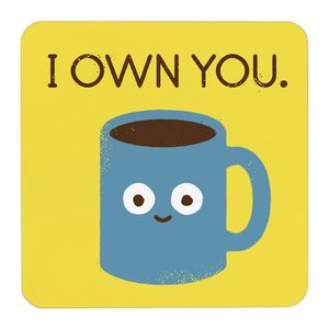 Ohh Deer I Own You Yellowith Blue Coaster