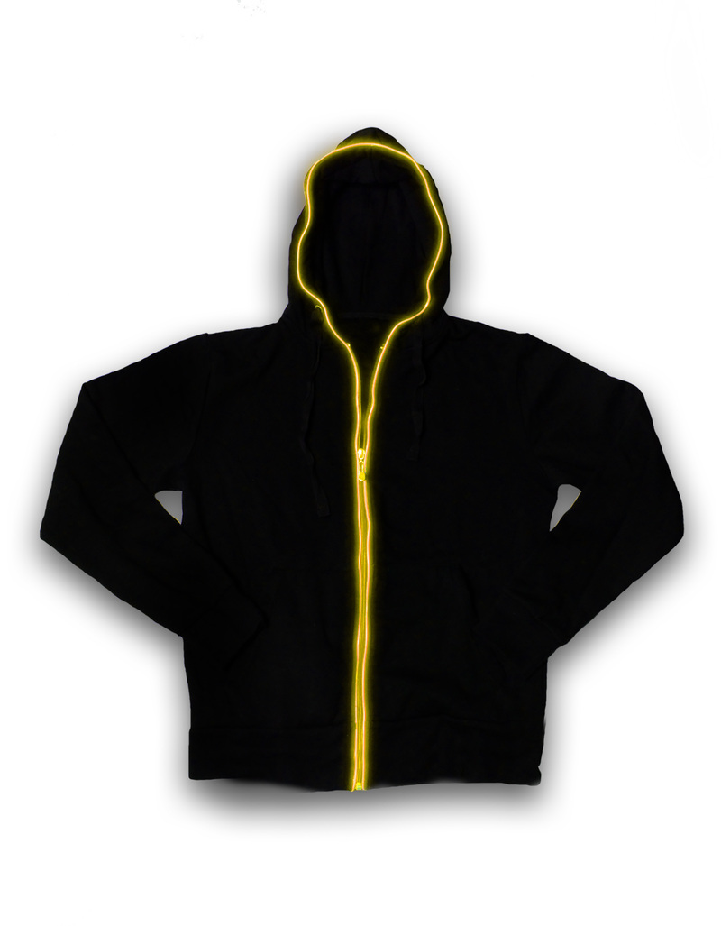 Electro Hoodie Black/Yellow Unisex Light-Up Hoodie Xl