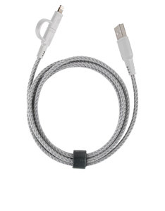 Energea Nylotough White Charge & Sync Lightning/Micro Cable 1.5M