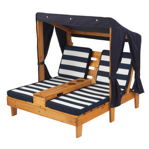 Kidkraft Outdoor Double Chaise Lounge With Cup Holders Honey & Navy Blue