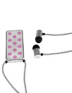 J'Adore Adorn Bare Your Happiness Clear/Pink Crystals & Silver Beads Rectangiular Pendant In-Ear Earphones