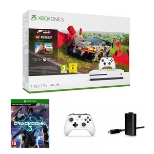 Xbox One S 1TB + Forza Horizon 4 DLC + Forza Horizon 4 Lego Speed Champions Add-On + Crackdown 3 + Play & Charge Kit + White Controller