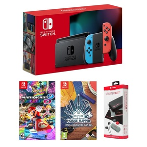 Nintendo Switch Neon Joy-Con + Mario Kart 8 Deluxe + House Flipper + Snakebite Starter Kit [Bundle]