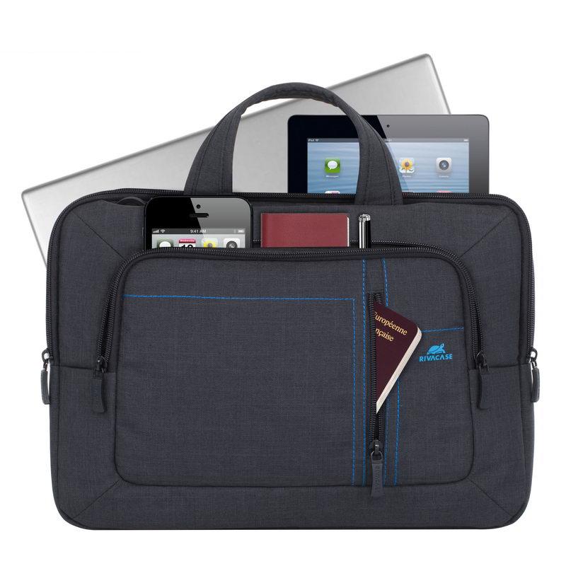 Rivacase 7520 Canvas Shoulder Bag Black Laptop 13.3 Inch  4b3e91442e