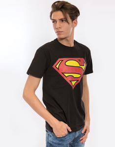 Superman Classic Logo Black Men's  T-Shirt