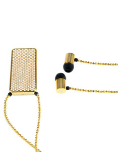 J'Adore Adorn Bare Your Beauty Clear Crystals & Gold Beads Rectangular Pendant In-Ear Earphones