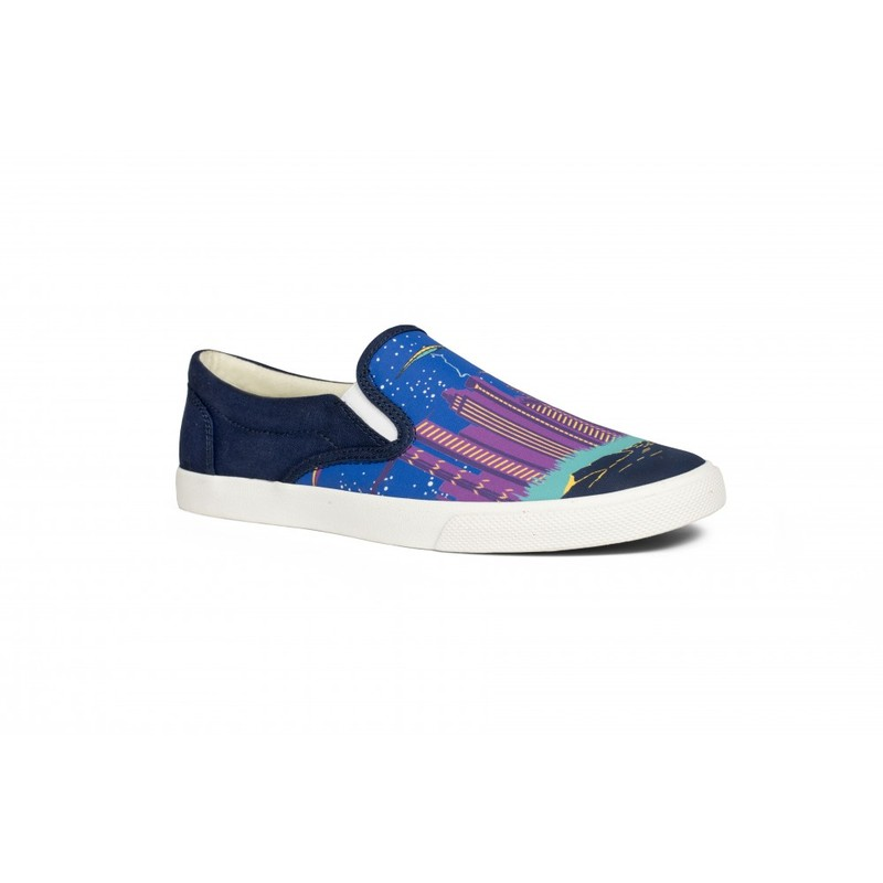 Bucketfeet Chicago Dark Blue Low Top Canvas Slip On Women'S Shoes Size 7
