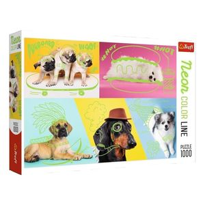 Trefl Neon Color Line Cool Dogs Jigsaw Puzzle [1000 Pcs]