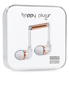 Happy Plugs Deluxe White Marble/Rose Gold In-Ear Earphones