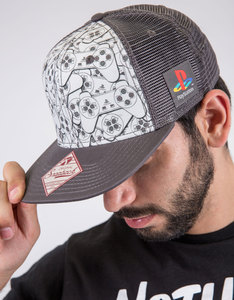 Playstation Controller Pattern Printed Snapback Trucker Cap