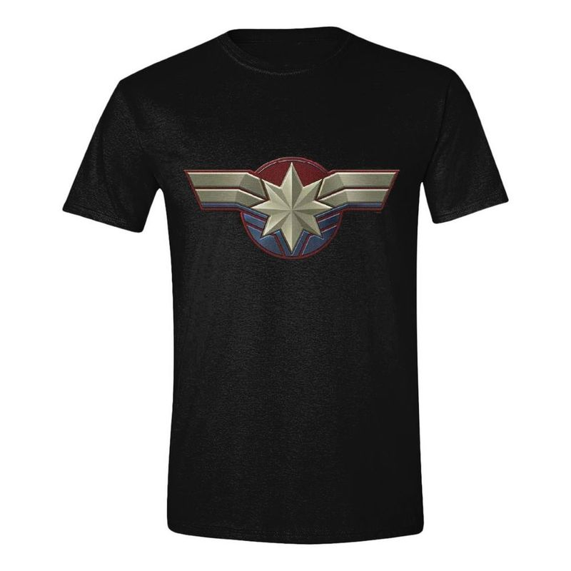 Time City Captain Marvel Chest Emblem Men's T-Shirt Black