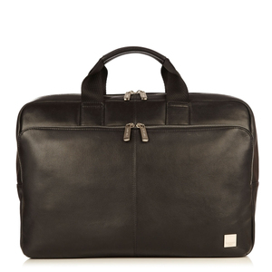 KNOMO NEWBURY BLACK LEATHER BRIEF FOR LAPTOP UP TO 15-INCH