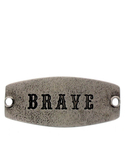 Small Sentiment Brave Silver Necklace Buckle