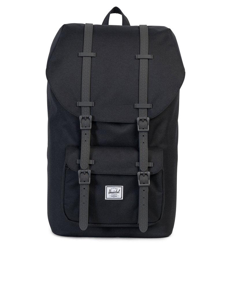 herschel little america black charcoal debossed rubber backpack backpacks backpacks bags. Black Bedroom Furniture Sets. Home Design Ideas