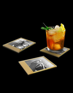 Mustard Instant Coasters Retro Gold Tempered Glass [4 Pack]