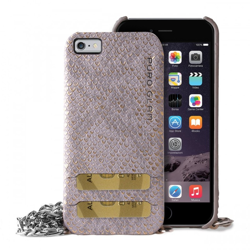 Puro Glam Chain Ecoleather Case Grey W/2 Card Slot & Silver Chain Iphone 6