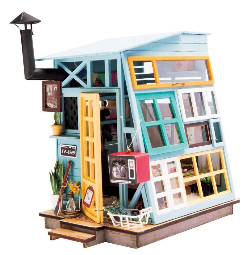 Robotime Diy Dollhouse Wooden Hut Building Sets Science