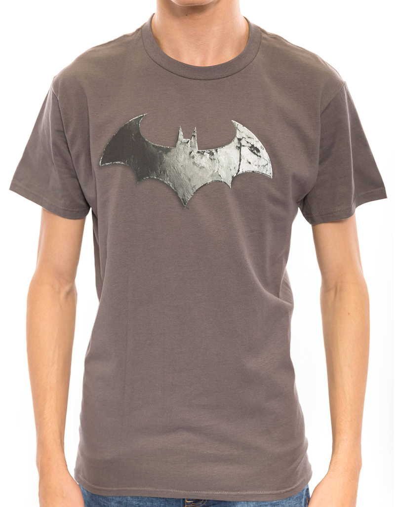 Arkham City Bat Logo Charcoal 30/1 Men'S Tshirt Xl