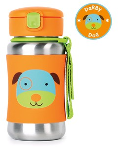 Skip Hop Zoo Stainless Steel Straw Kids Water Bottle Dog 350ml