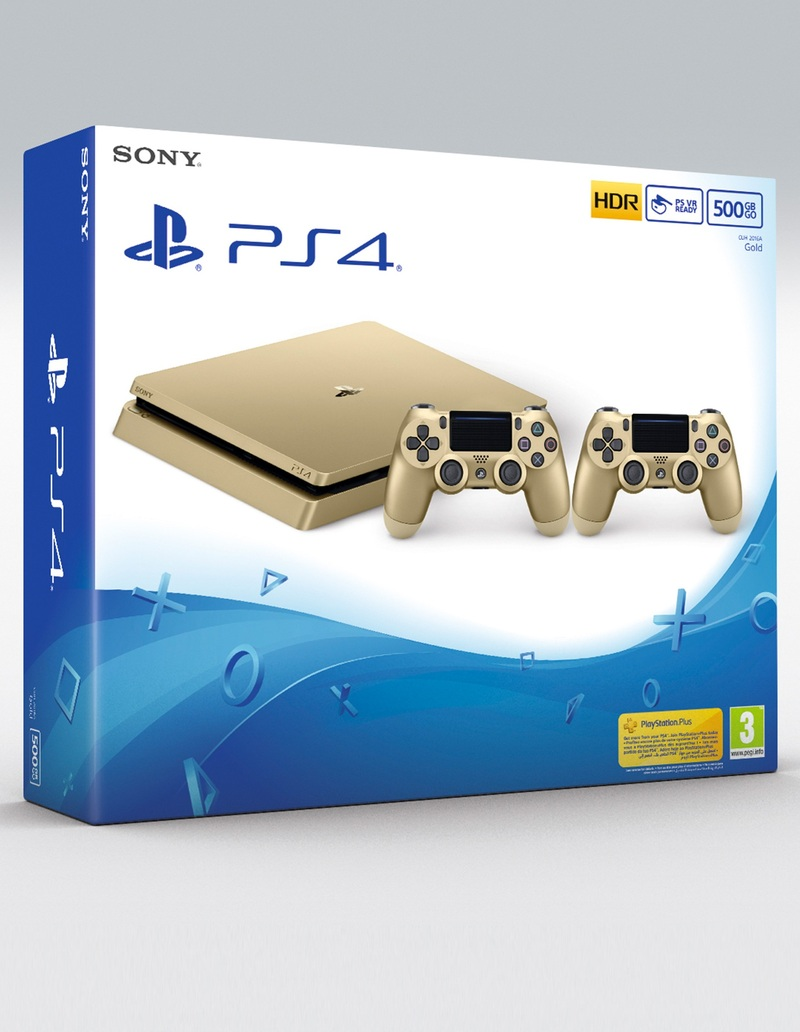 Sony PS4 500GB Slim Gold Console [Includes 2 Dualshock Controllers]